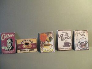 5 DOLLS HOUSE MINIATURE POSTERS COFFEE BB