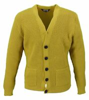 Relco Classic Retro Waffle Knit Mustard CARDIGAN with Pockets
