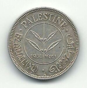 Palestine British Mandate Silver Coin Israel 50 Mils Mil 1931 KM6 XF AU Free S&H