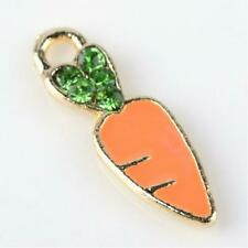 Enamel Carrot Charm Gold Easter Findings Vegetable Gardening Jewelry Making