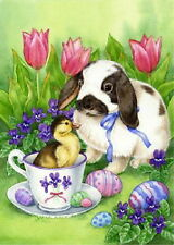NEW TOLAND GARDEN FLAG EASTER FRIENDS BUNNY RABBIT & BABY DUCK TULIPS 12.5 X 18