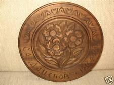 Vintage Crafts Floral Carved Wooden Wall Plate