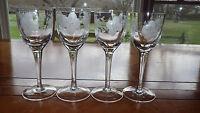 8 Clear Glass Cordial Glasses Small Wine Glasses Gray Cut floral design 8 3oz
