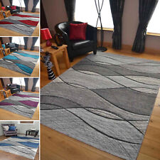 Modern Grey Rug Stair Hallway Runner Large Small Living Room Wave Mat UK Cheap