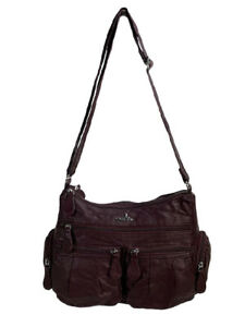 Angel Kiss Designer Faux Leather Women's Crossbody Handbag Wine  AB1901