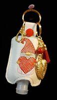 Handmade Sanitizer Holder Key Ring Fob Purse Beaded Valentine's Heart Gnome New