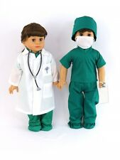 Medical Surgical Scrubs w/ Stethoscope For 18 Inch American Girl Doll Clothes AG