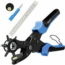 Heavy Duty Revolving Leather Hole Punch Plier Tool with Punch Plates and Ruler