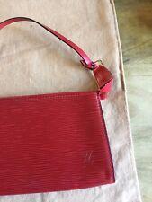 louis vuitton Pochette Red Epi Leather Pouch Clutch Purse Bag Wallet Valentines