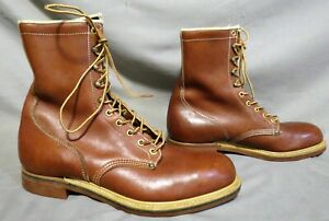 MENS HY TEST BROWN LEATHER STEEL TOE HIKING FARM WORK BOOTS US SIZE 9.5 D