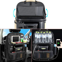 Car Seat Storage Bag PU Leather Multi Pocket w/ 4 USB Charging Port Dining Table