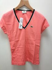 LACOSTE LADIES V/NECK T/SHIRT IN PEACH.MED