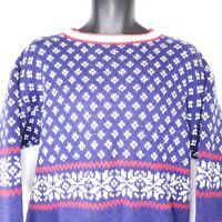 Vintage Interim Size M Blue White Red Fair Isle Ski Sweater Oversized Wool Blend