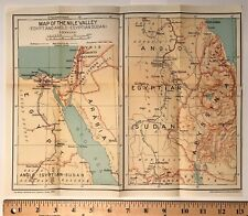 1932 ORIGINAL COLOR MAP of NILE RIVER VALLEY Africa ~ Authentic Dated Vintage
