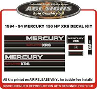 1994 1995 MERCURY 150 hp XR6  2.5 Litre outboard Decals reproduction