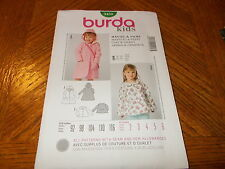 Burda Kids Pattern 9458 Girls Coat w/Hood~ Rain Coat & Jacket  Sz 2-6