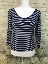 Express One Eleven Navy White Striped Ribbed Rayon 3/4 Sleeve Scoop Top Large L