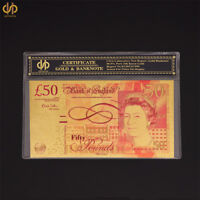 Colored Gold Banknote 50 Pound  Paper Money World Bill Note Collection W/ COA