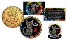 Chinese Zodiac PolyChrome Genuine JFK Half Dollar 24K Gold Gilded Coin - CAT