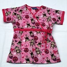Carol's Scrubs Top Size Extra Small Pink Girl Monkey Peace Hearts Medical Nurse