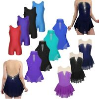 Girls Kids Lyrical Ballet Dance Dress Leotard Skating Skirt Dance Wear Costume