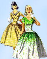 1950s Original Vintage Simplicity Pattern 1195 Easy Misses Party Dress Size 30 B
