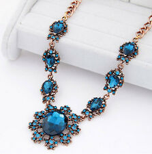 SHIP FROM NYC Vintage gold plated aqua blue gems bib necklace US SELLER