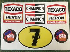 BARRY SHEENE TEXACO HERON TEAM SUZUKI CHAMPION No 7 LARGE Decals Stickers