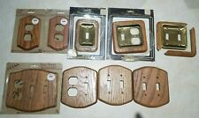 New ListingLot Of 9 Solid Oak Wood Light Switch Wall Plates and Electrical Outlet Covers