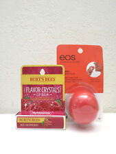 Lot of (2) Lip Balms EOS Summer Fruit & Burts Bees Flavor Crystals Red Raspberry