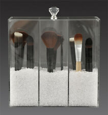 Clear Acrylic Makeup Brush Holder 3 Compartment With Crystal Knob Lid A3