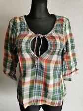 Hollister California womens cotton 3/4 sleeve check summer top size M