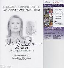 Hillary Clinton Signed Program w/ Jsa Coa # L51381 Proof Tom Lantos Human Rights