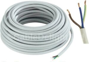 3 CORE ELECTRICAL FLEX WHITE ROUND CABLE   0.75mm - 2.5mm  In 2/5/10/20m lengths