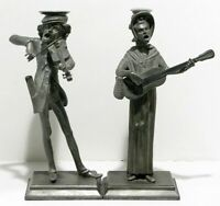 Vintage Pair Pewter Candlesticks Singing Figurines Man Woman With Violin Guitar