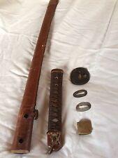 Antique Japan Army  GUNTO tsuba saya koshirae Tsuka  katana Daito sword F/S #4