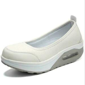 Womens Walking Fitness Toning Shoes Platform Wedge Trainers Slip On Nurse Shoes