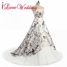 2018 NEW White Snow Camo Truetimber Wedding Dresses REALTREE Bridal Gowns Custom