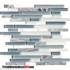 1-SF Blue White Marble Glass Mosaic Tile Backsplash Kitchen wall bathroom shower
