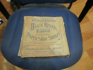 Early Winchester Blue Rival Paper Shell 12 Gauge 100 Cartridge 2 Piece BOX