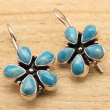 Simulated LARIMAR Gems FLOWER STYLE Handmade Design Earrings 925 Silver Plated