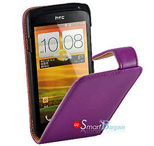 Premium PURPLE Flip Leather Case Cover for HTC ONE S + Screen Protector