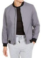 Alfani Mens Bomber Jacket Boulder Gray Small S Full-Zip Ribbed-Trim $139 145
