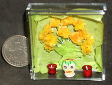 Day of The Dead Sugar Skull Carnations 2 Votive Candles 1:12 Miniature #8314