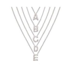 Women Letter A-Z Sterling Silver Cute Chain Pendants Necklace Fashion Jewellery