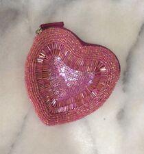 Next Heart Shaped Pink Beaded Zip Up Novelty Coin Purse