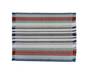 Food Network Seasonal Striped Set of 4 Frayed Edge 14 x 19 in Placemat