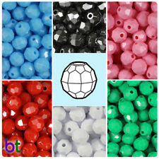 BeadTin Opaque 10mm Faceted Round Plastic Craft Beads (210pcs) - Color choice