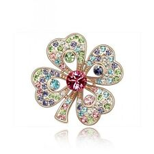 PRETTY 18K GOLD PLATED AND MULTI-COLOURED CZ AUSTRIAN CRYSTAL SHAMROCK BROOCH .