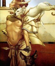 Michael Parkes print STALKING semi nude fierce woman w cat dog 1980s surreal art